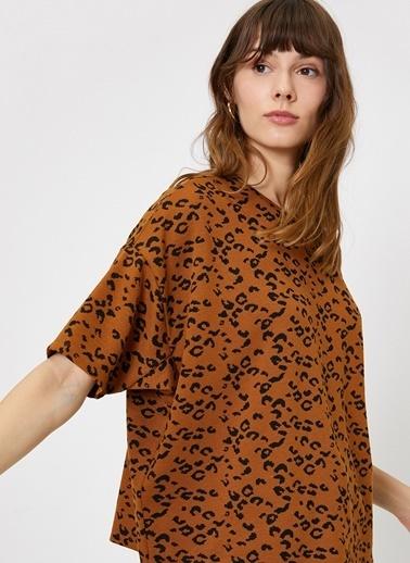 Koton Koton Kahverengi Desenli T-Shirt Kahve